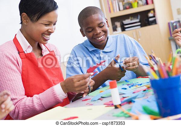 Elementary schoolart class - csp1873353
