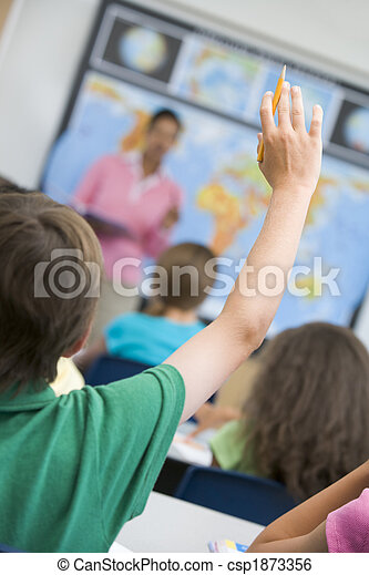Elementary school pupil asking question - csp1873356