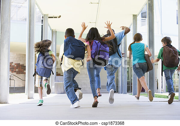Elementary school pupils running outside - csp1873368