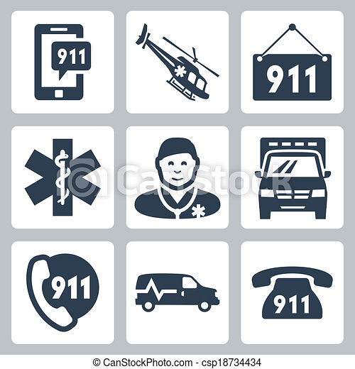 Vector emergency service icons set - csp18734434