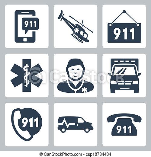 Vector emergency service icons set - csp18734434