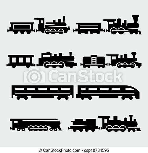 Vector isolated trains silhouettes set - csp18734595
