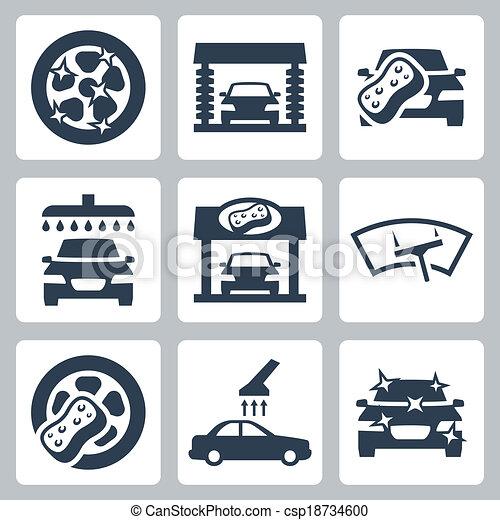 Clipart vecteur de vecteur voiture laver ic nes ensemble csp18734600 recherchez des images - Coloriage car wash ...