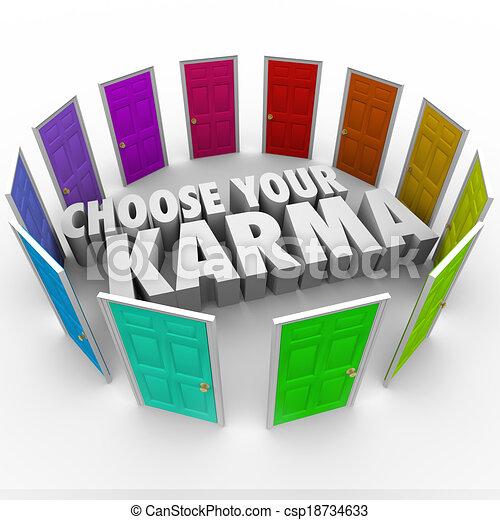 escolher, seu, karma, muitos, portas, caminhos, destino, destino, sorte - csp18734633