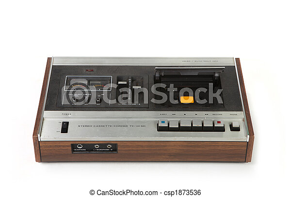 Vintage Cassette Tape Recording Device Isolated - csp1873536
