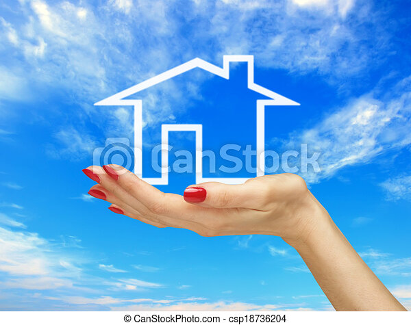 White house in woman hand over blue sky. Real estate - csp18736204