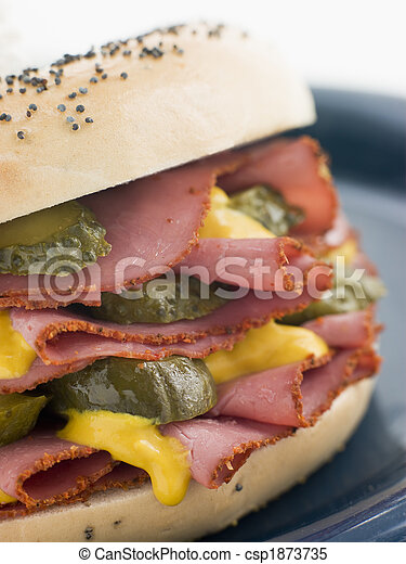 Poppy Seed Bagel with Pastrami Mustard and Gherkins - csp1873735