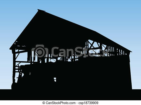 Barn Silhouette Drawing Barn Silhouette Csp18739909