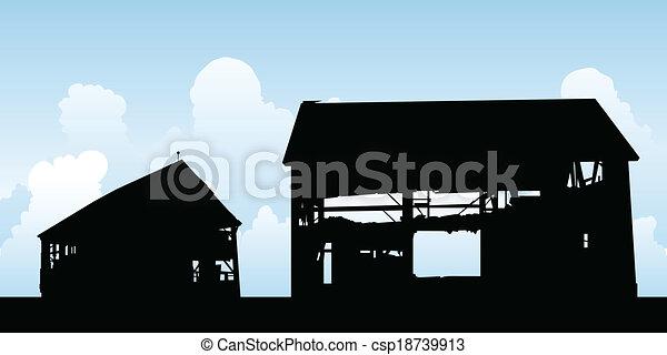 Barn Silhouette Drawing Barn Silhouette Csp18739913