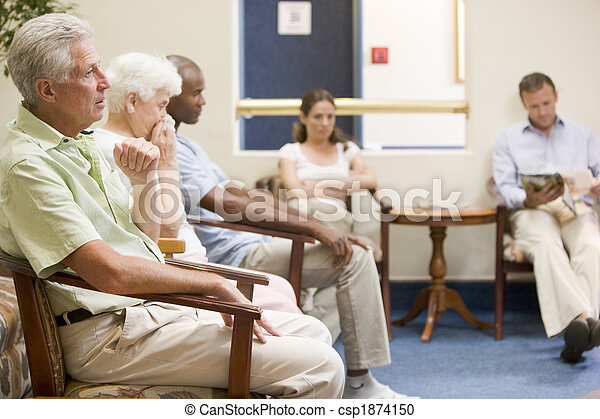 Five people waiting in waiting room - csp1874150