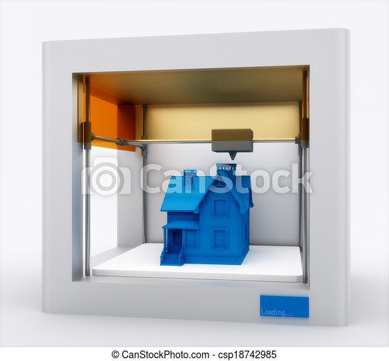 illustration de imprimante impression maison 3d 3d imprimante csp18742985 recherchez. Black Bedroom Furniture Sets. Home Design Ideas