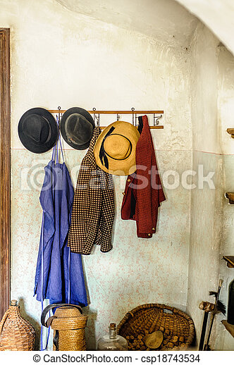 Rural Cloakroom with Clothes - csp18743534