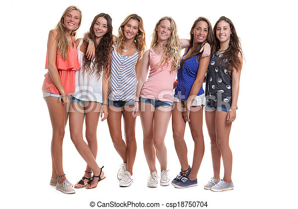 group of healthy tanned smiling summer teenagers - csp18750704