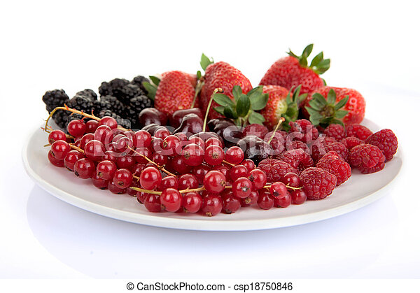 plate of red summer fruits and berries - csp18750846