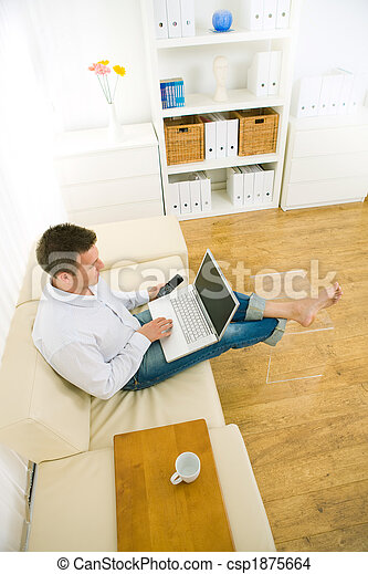 Businessman working at home office - csp1875664