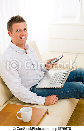 Businessman working at home - csp1875670