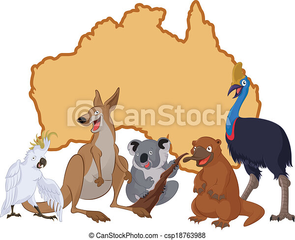 Australia with cartoon animals - csp18763988