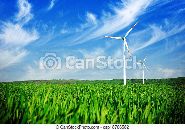 Wind energy turbines on the field - csp18766582