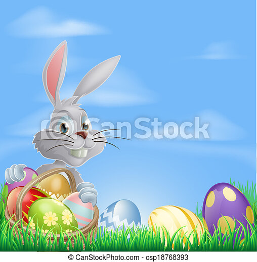 Easter eggs bunny in field - csp18768393
