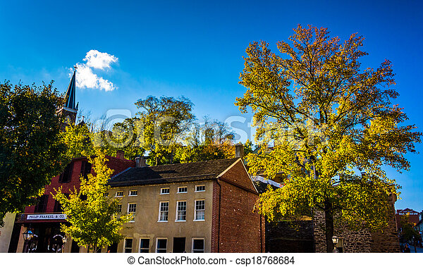 Historic buildings and autumn color in Harpers Ferry, West Virginia. - csp18768684