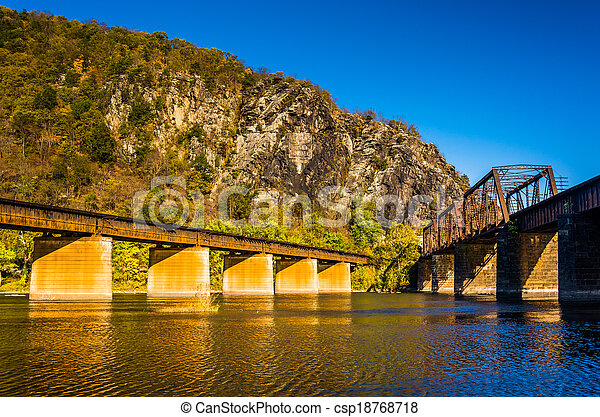 Railroad bridges over the Potomac River and Maryland Heights in Harpers Ferry, West Virginia. - csp18768718