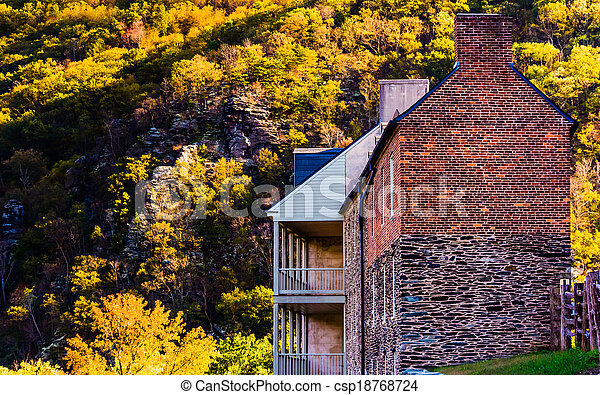 Historic buildings and autumn color in Harpers Ferry, West Virginia. - csp18768724