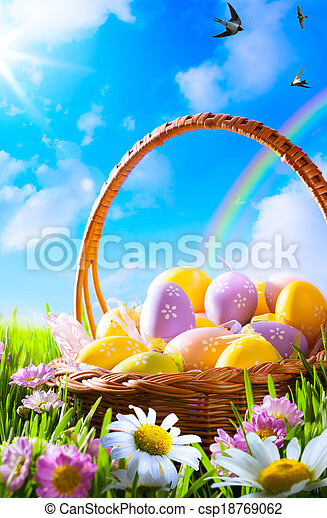 art Easter eggs on basket  - csp18769062
