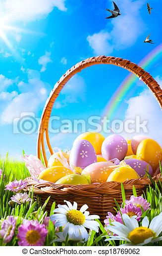 art Easter eggs on basket  - csp18769062