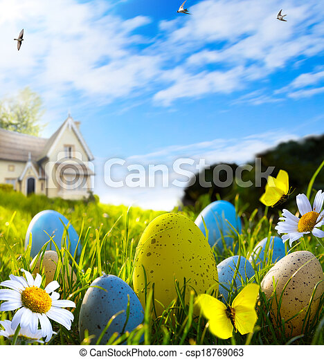art easter eggs on spring field - csp18769063