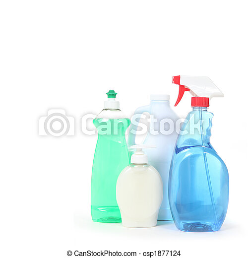 Household Cleaning Products Dishsoap Window Cleaner and Bleach - csp1877124