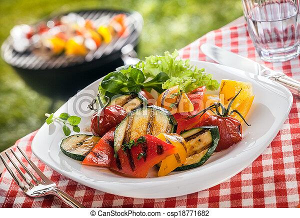 Serving of succulent roasted vegetarian, fresh vegetables - csp18771682