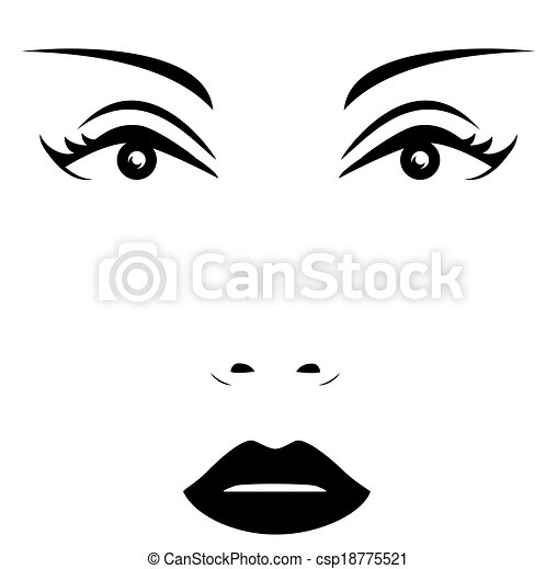 isolated woman face - csp18775521