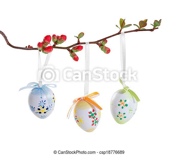oeufs, Paques, fleurir, branche - csp18776689