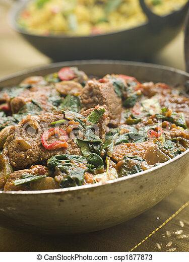 Karai Dish with Lamb Methi Gosht and Vegetable Pilau - csp1877873