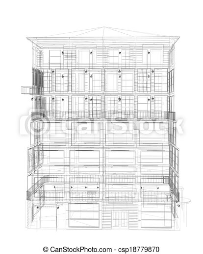 Highly detailed building. Wire-frame render - csp18779870