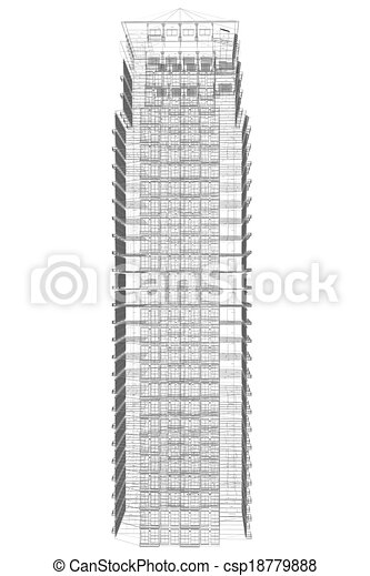 Highly detailed building. Wire-frame render - csp18779888