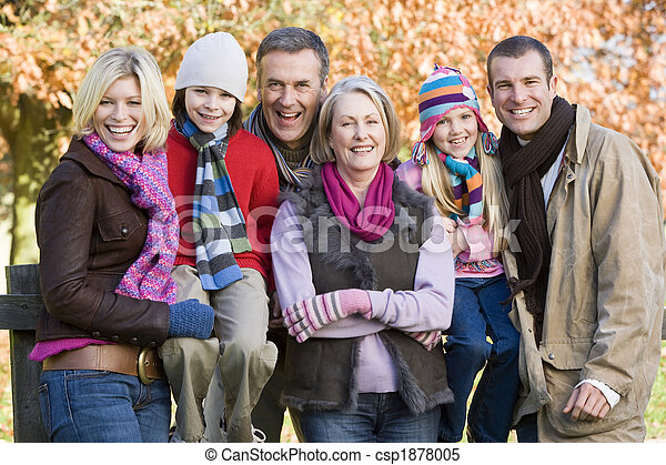 Multi-generation family on autumn walk - csp1878005