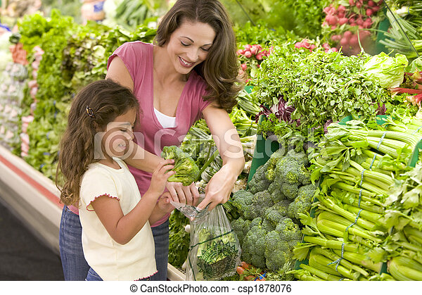 Mother and daughter shopping for produce - csp1878076