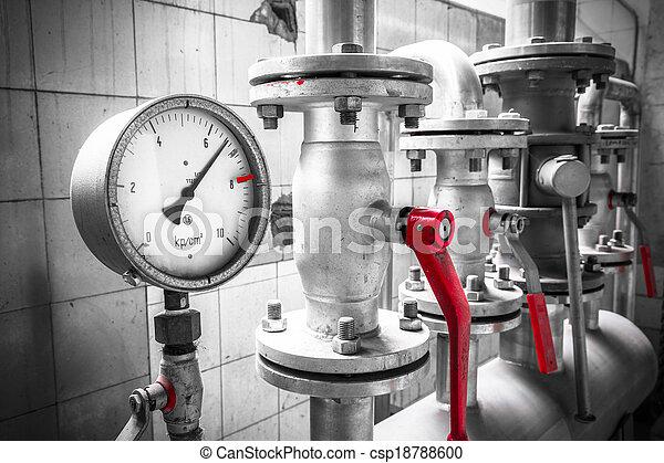 pressure gauge is an industrial pipe, valves, detail - csp18788600