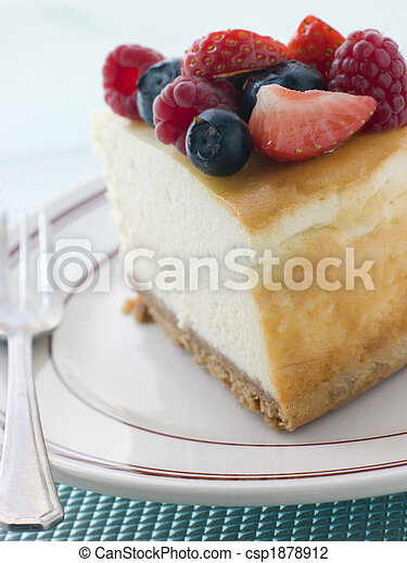 Slice Of New York Cheesecake On A Plate - csp1878912