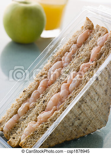 Prawn Marie Rose Sandwich On Granary Bread With An Apple And Ora - csp1878945