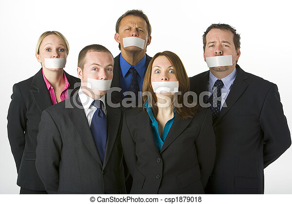 Group Of Business People With Their Mouths Taped Shut - csp1879018