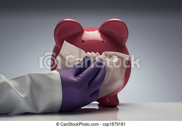Swine flu pig with tissue - csp1879181