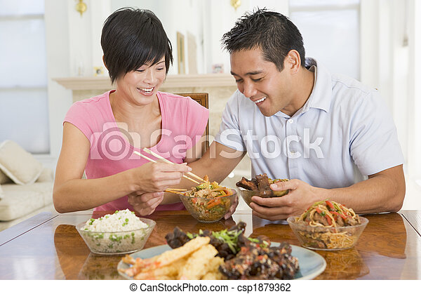 Young Couple Enjoying Chinese Food - csp1879362