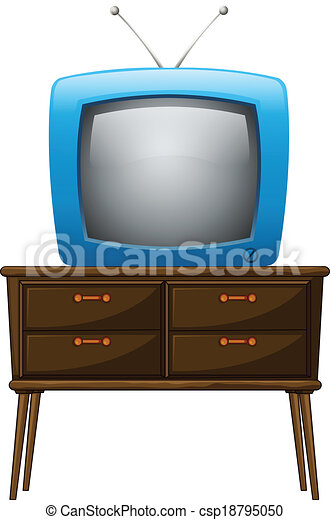 Clipart Vector of A television above the wooden table - Illustration of a... csp18795050 ...