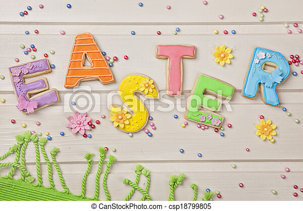 Colorful easter cookies - csp18799805