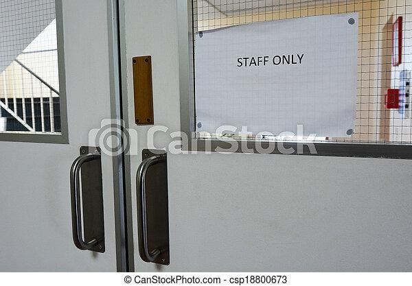 Staff only door sign