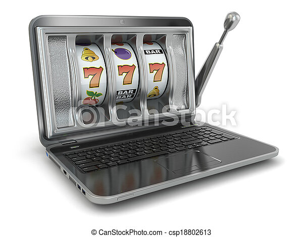Online gambling concept. Laptop slot machine - csp18802613