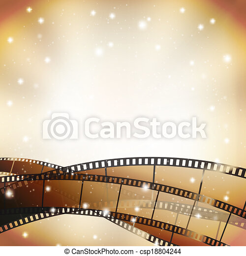 cinema background with retro filmstrip and stars - csp18804244