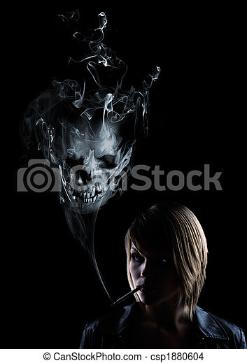 young women smokes and in the smoke appears a skull - csp1880604